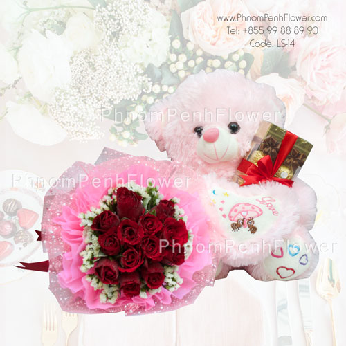 Roses bouquet with bear & Chocolate – LS-14