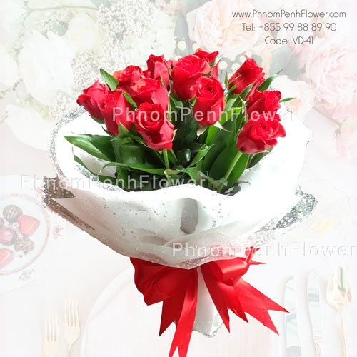 12 Red rose bouquet – VD-41