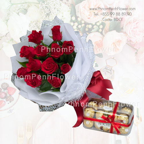 12 Red rose bouquet with chocolate