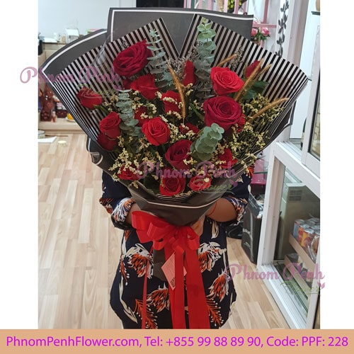 16 red rose bouquet – PPF-228