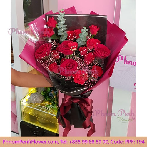 18 red roses bouquet – PPF-194