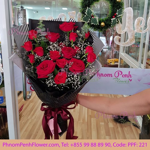 18 red rose bouquet – PPF-221