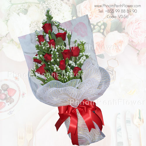 18 red rose hand bouquet – VD-56