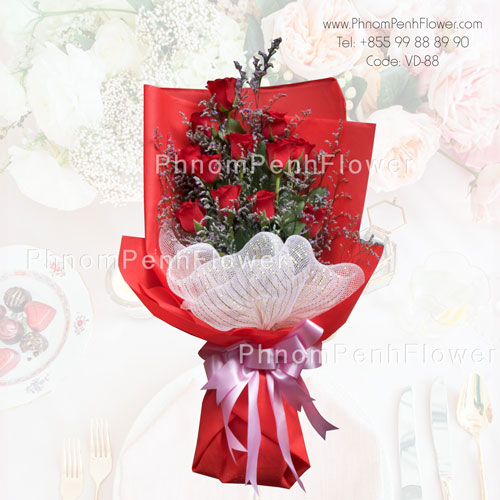 18 red rose bouquet – VD-88