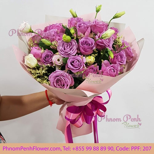 24 Purple Roses Bouquet – PPF-207