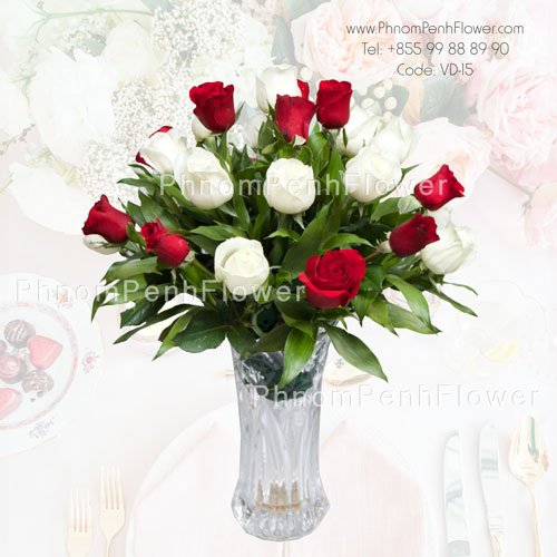 24 red & white roses in glass vase, VD-15