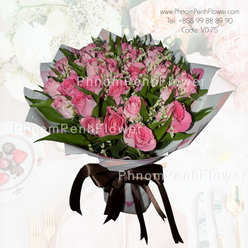3 Dozen Pink Rose Bouquet – VD-75