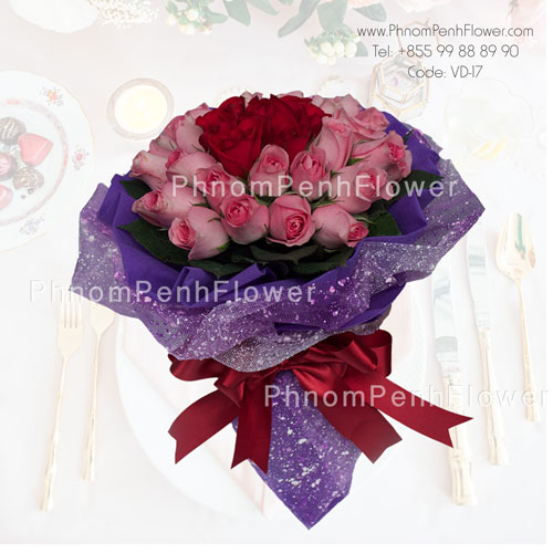 36 Pink & Red Roses bouquet