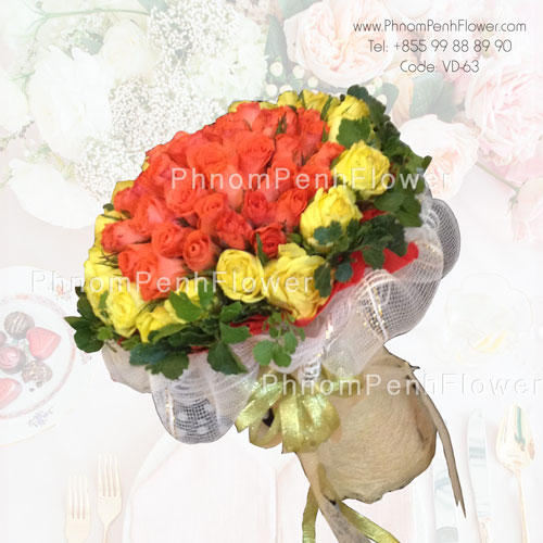 69 Yellow & Orange Roses Bouquet