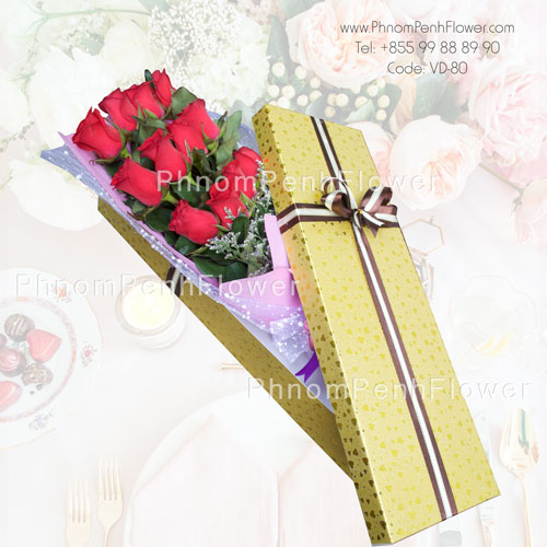 12 Red Roses in box – VD-80