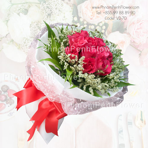 Bouquet of one dozen pink roses -VD-70