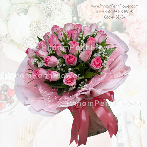 Bouquet of two dozen pink roses -BD-34