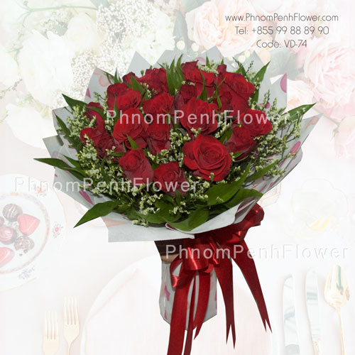 Elegant 18 red rose bouquet – VD-74