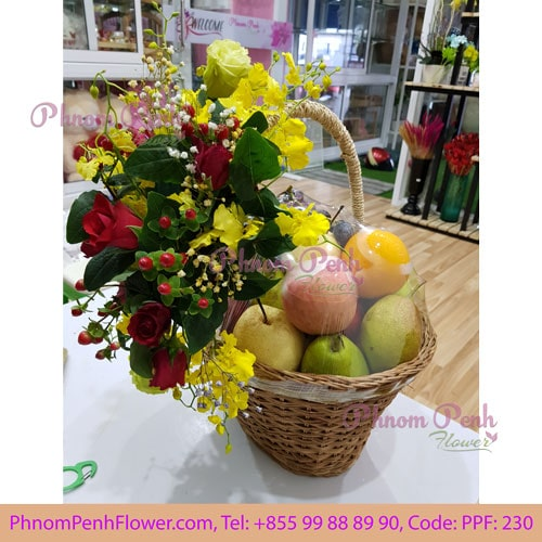 Flowers with fruits basket - PPF-230