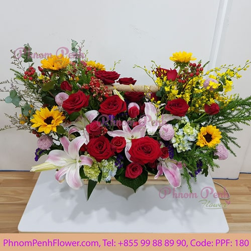 Seasonal mixed cut flower basket - PPF-180