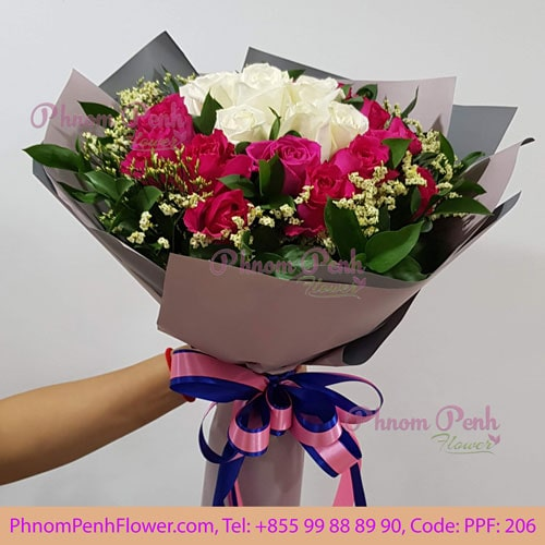 Mixed 36 Pink & White Rose – PPF-206
