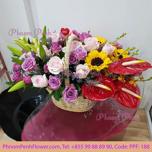 Mixed Cut Flowers Basket PPF-188