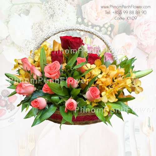 Seasonal mixed flowers basket – BW-07