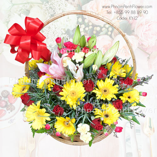Mixed seasonal flower basket – KY-12