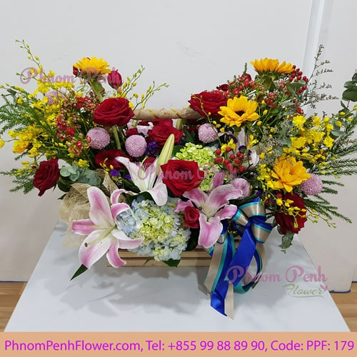 Mixed flowers basket – PPF-179