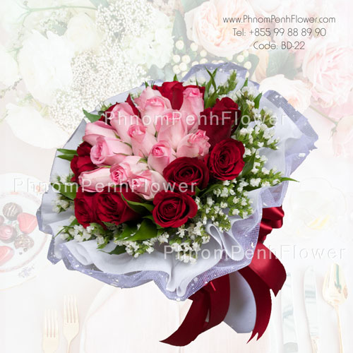 Mixed pink & red 24 roses bouquet – BD-22