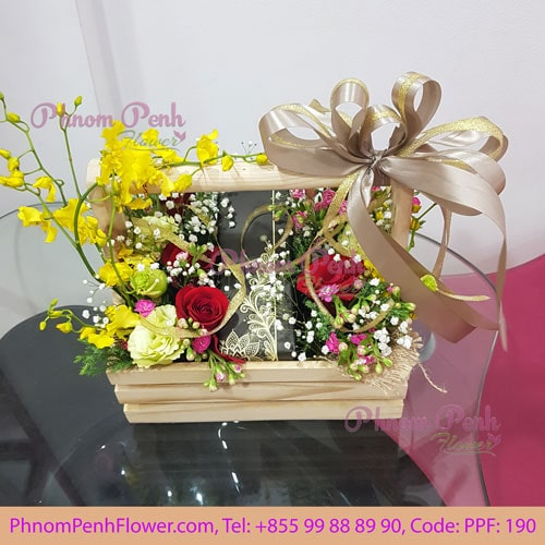 Orchid with rose basket - PPF-190