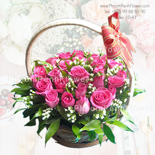 Pink Rose Basket Arrangement – VD-43