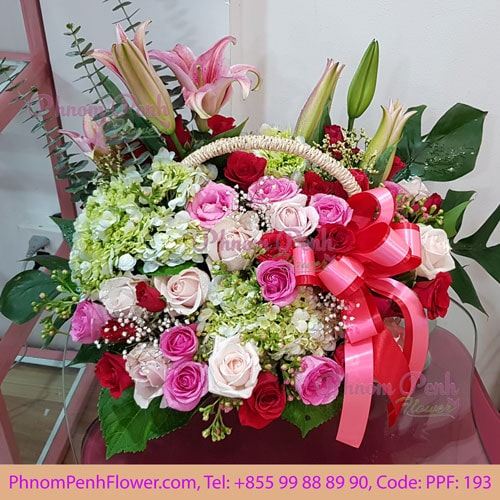 Pink lily mixed wtih rose basket -PPF-193