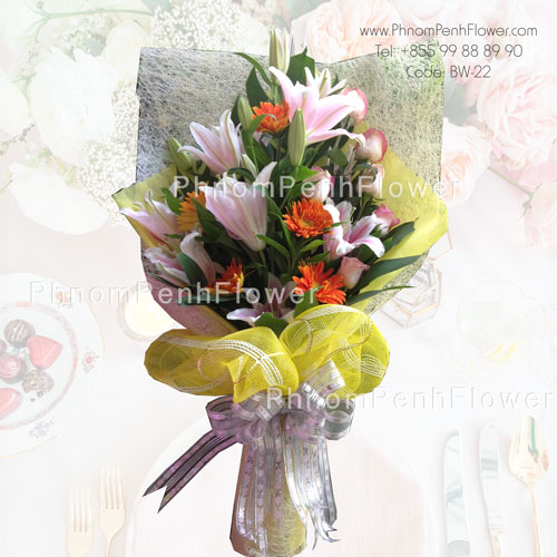 Pink lily & pink rose bouquet – BW-22