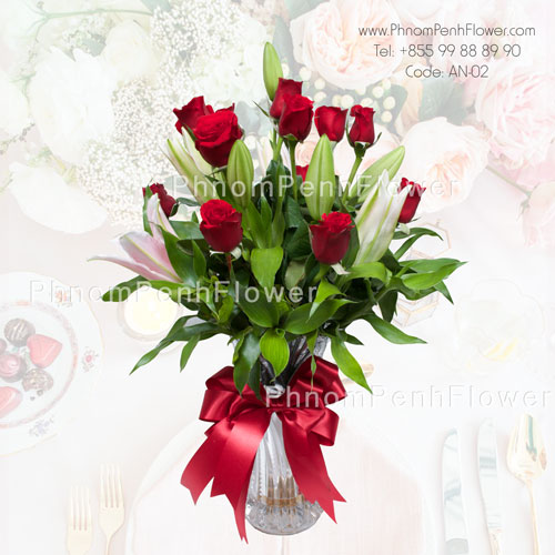 Red Roses and Pink Lily – AN-02