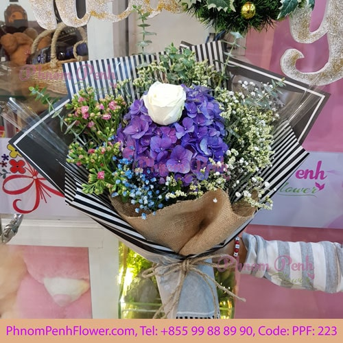 Single White Rose Bouquet – PPF-223