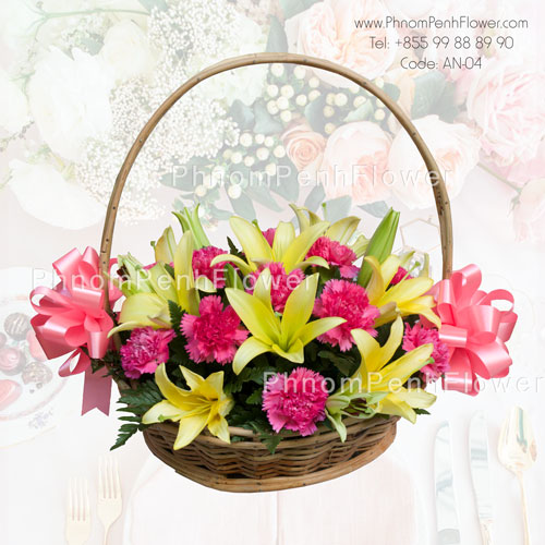 Stunning Lily and Carnation Basket – AN-04