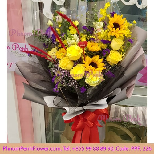 Sunflower with yellow rose bouquet - PPF -226