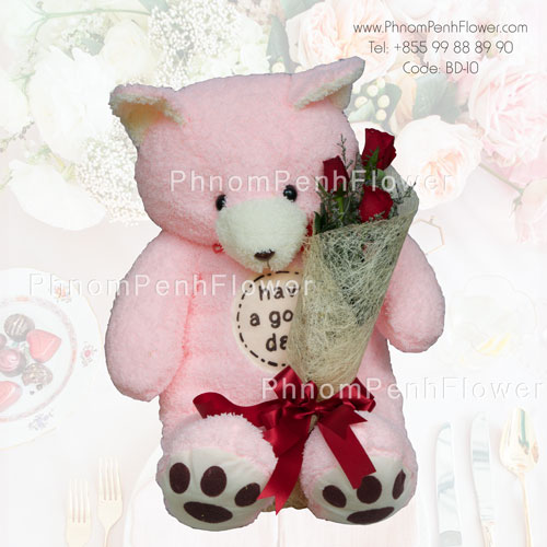 Bear Hug a bouquet of 3 roses – BD-10