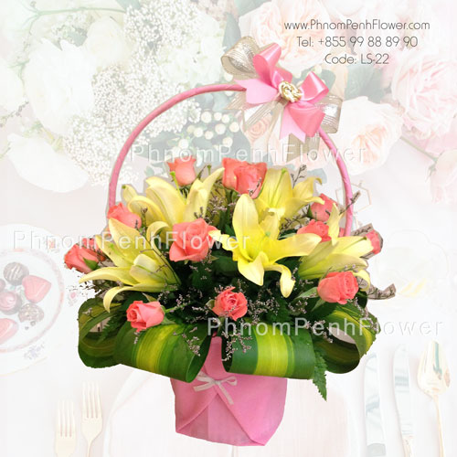 Yellow lily & Orange Rose Basket – LS-22