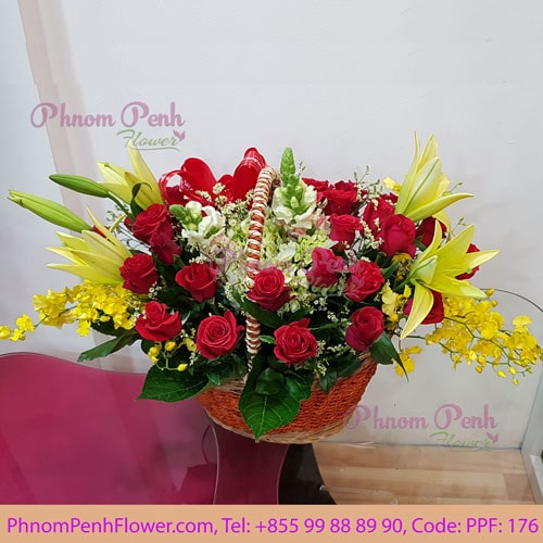 Yellow lily & Red Rose basket - PPF-176