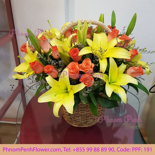 Yellow lily with orange rose basket - PPF-191