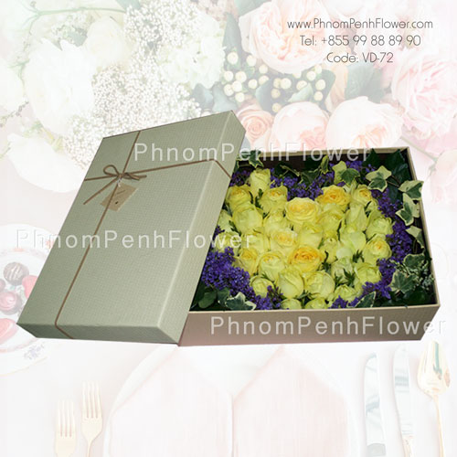 Yellow rose in box -VD-72