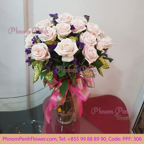 24 pink roses in glass vase, PPF-306