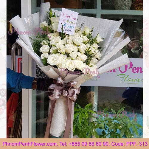 PPF-313 White roses beauty bouquet