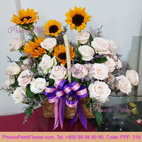 PPF-316 Sunflower mixed with pink rose basket