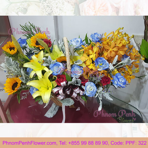 PPF-322 Mixed cut flower basket of lily, rose & orchid
