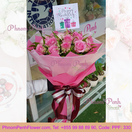 PPF-330 Pink Rose Hand bouquet