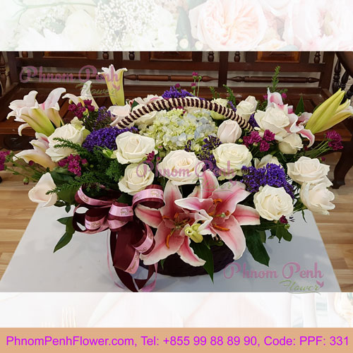 PPF-331 Basket of Pink lily & rose
