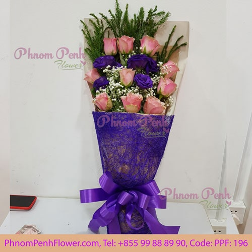 10 Pink Rose bouquet -PPF-196