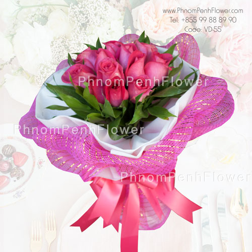 12 Pink Rose bouquet -VD-55