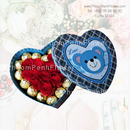 12 Red Roses in box with chocolate – VD-54