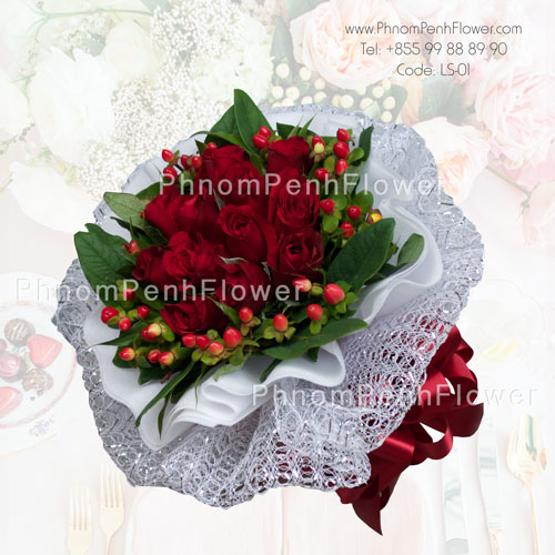 12 Red rose bouquet – LS-01