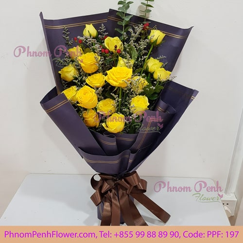 18 yellow rose bouquet – PPF-197