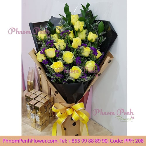 24 Yellow Roses Bouquet – PPF-208